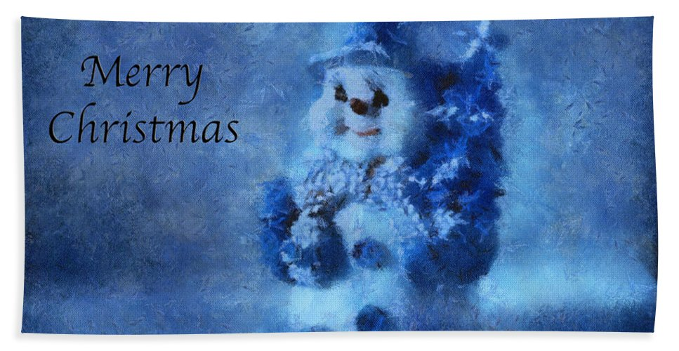 Winter Beach Towel featuring the photograph Snowman Merry Christmas Photo Art 01 by Thomas Woolworth