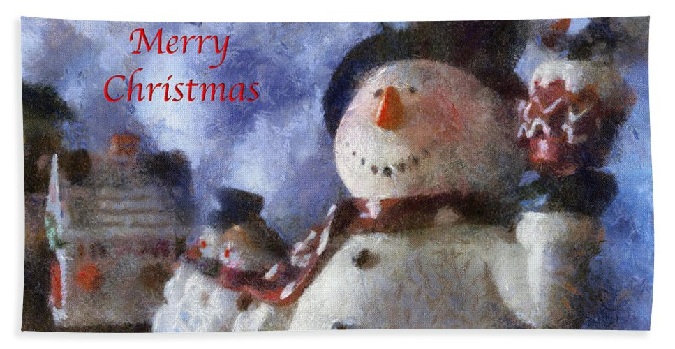 Winter Beach Towel featuring the photograph Snowman Merry Christmas Photo Art 05 by Thomas Woolworth