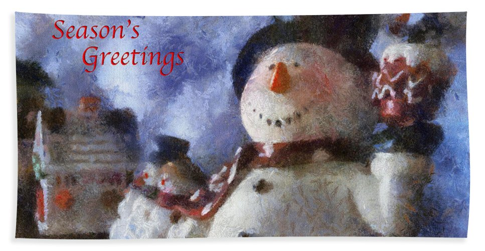 Winter Beach Towel featuring the photograph Snowman Season Greetings Photo Art 01 by Thomas Woolworth