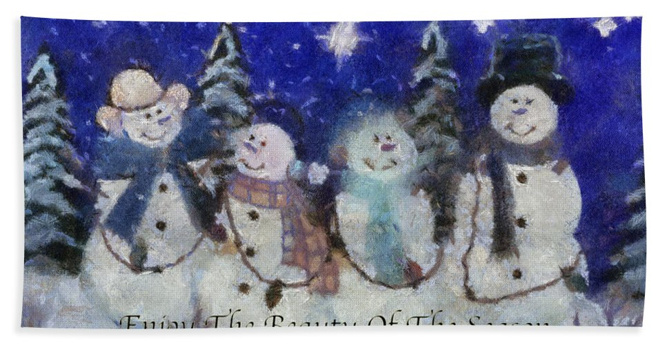 Winter Beach Towel featuring the photograph Snowmen Enjoy The Beauty Photo Art by Thomas Woolworth