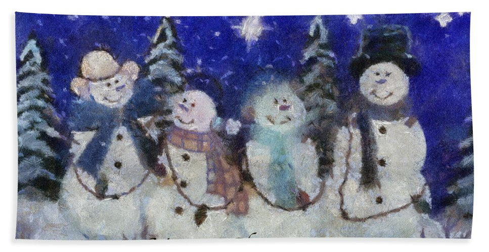 Winter Beach Towel featuring the photograph Snowmen Merry Christmas Photo Art by Thomas Woolworth