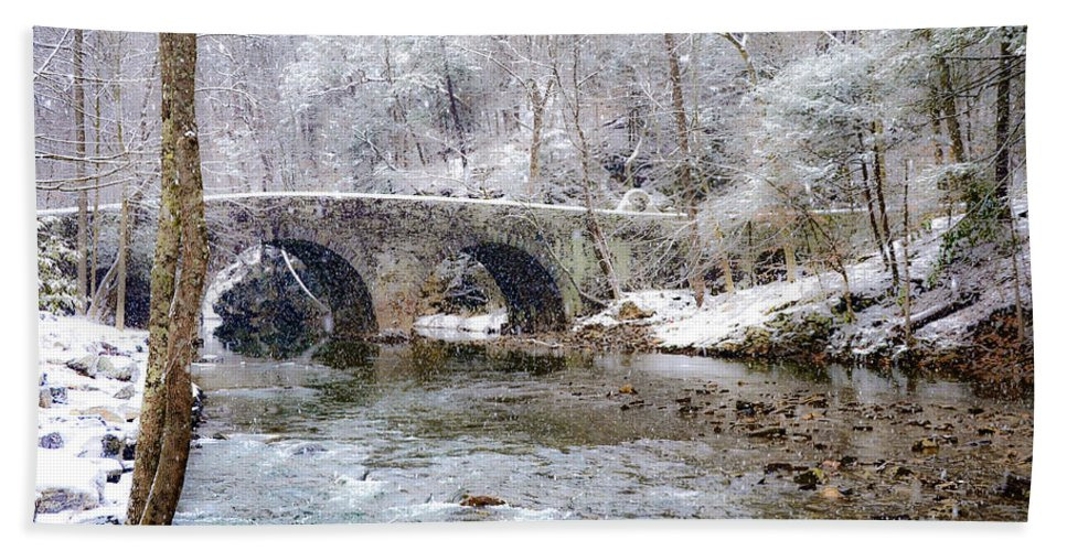 Snowy Beach Towel featuring the photograph Snowy Bridge Along The Wissahickon by Bill Cannon
