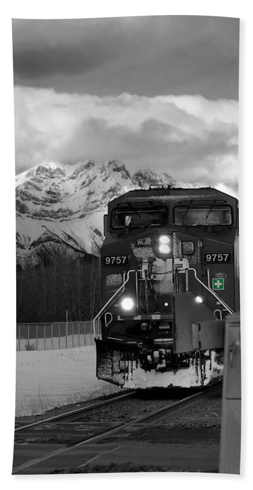 Rocky Mountains Beach Towel featuring the photograph Snowy Engine Through The Rockies by Lisa Knechtel