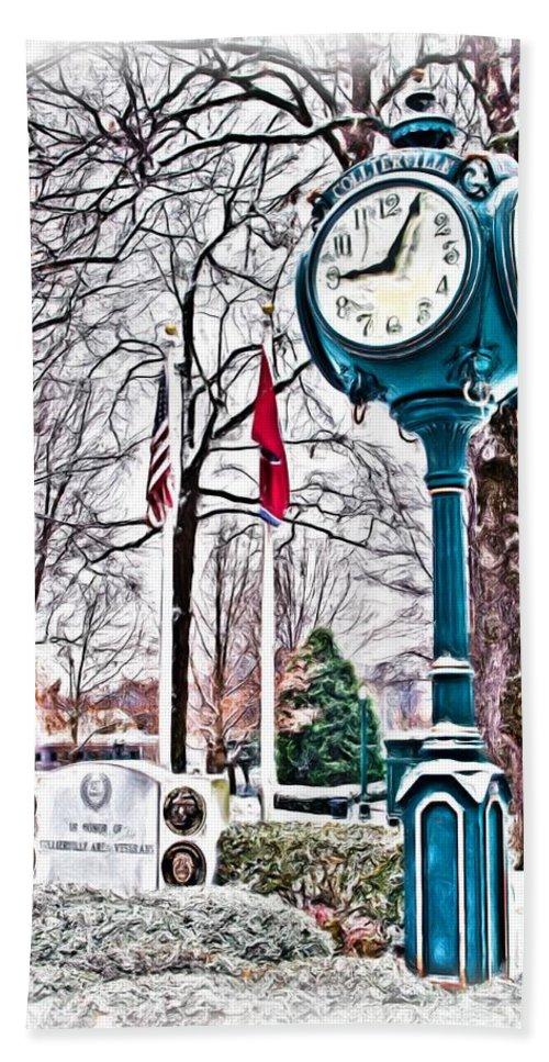 Snow Beach Towel featuring the photograph Snowy Morning - Oil by John Dauer
