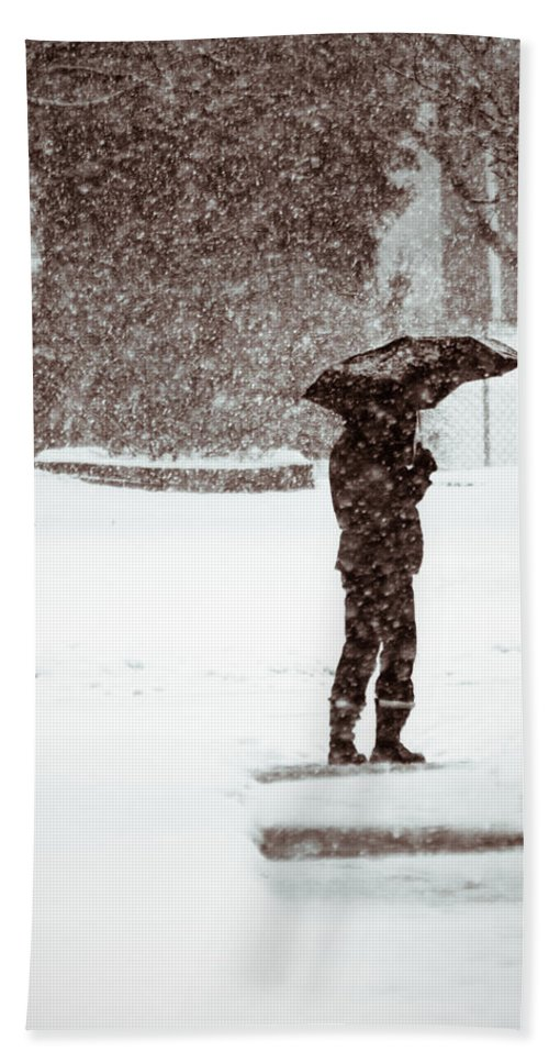 Winter Beach Towel featuring the photograph Snowy Walk by Lauri Novak