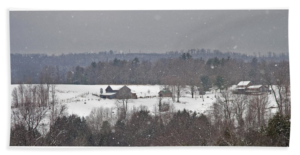 Winter Beach Towel featuring the photograph Snowy Winter Farmscape by John Stephens