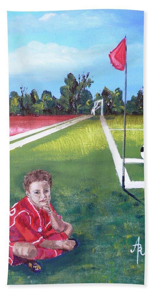 Soccer Beach Towel featuring the painting Soccer Field by Anna Ruzsan