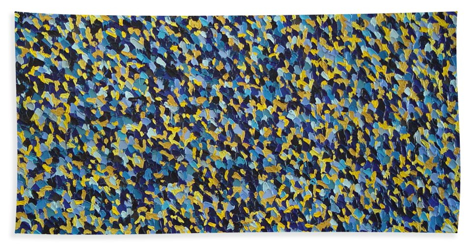 Abstract Beach Sheet featuring the painting Soft Blue With Yellow by Dean Triolo