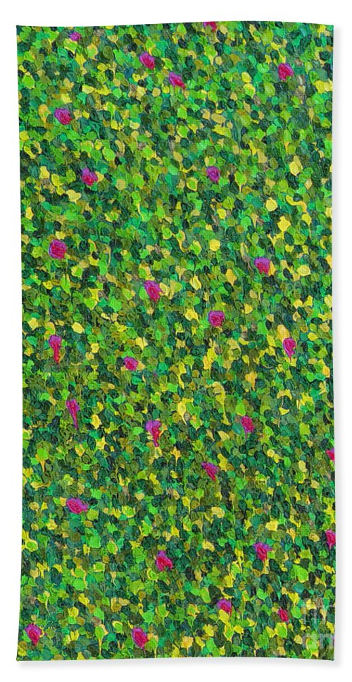 Abstract Beach Towel featuring the painting Soft Green With Pink by Dean Triolo
