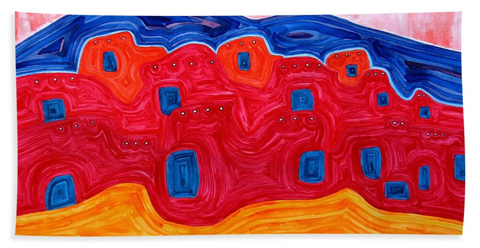 Painting Beach Towel featuring the painting Soft Pueblo Original Painting by Sol Luckman