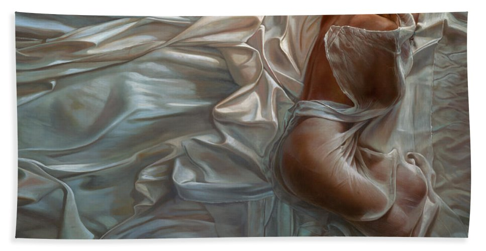 Portrait Beach Sheet featuring the painting Sogni Dolci by Mia Tavonatti