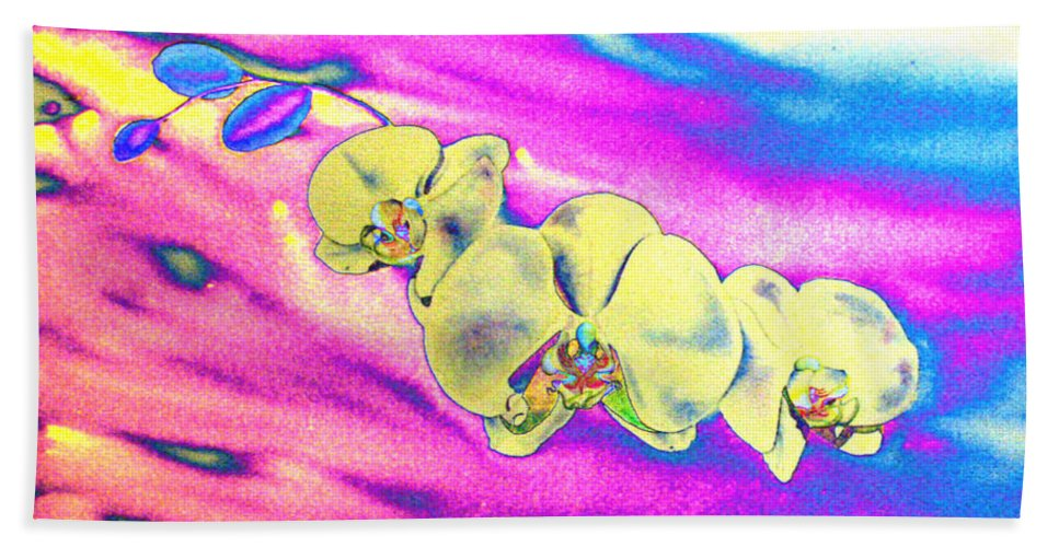 Watercolor White Orchid Painting Beach Towel featuring the painting Solar Breeze by H Cooper