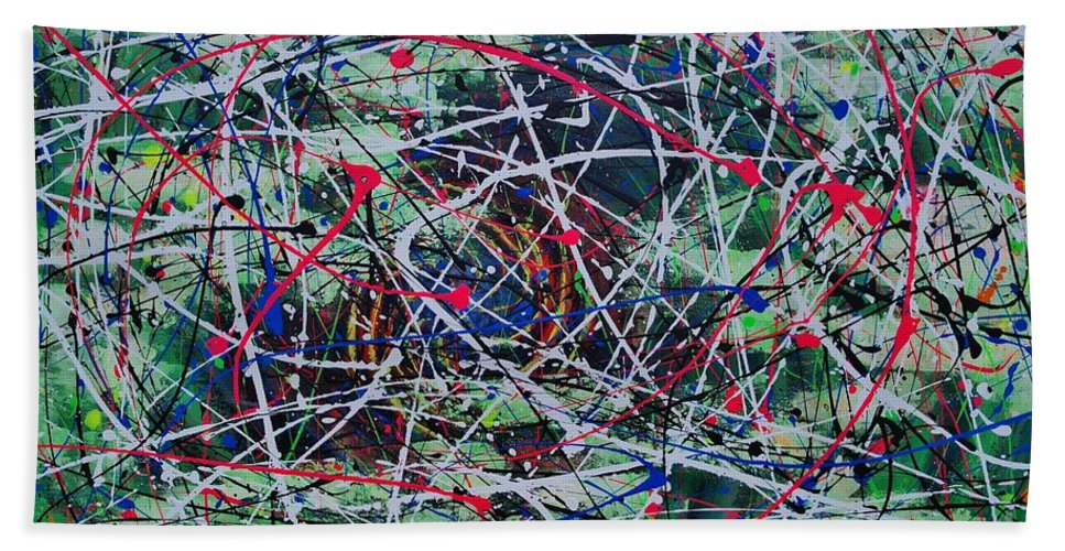 Abstract Beach Towel featuring the painting Solar Flare by Wayne Cantrell