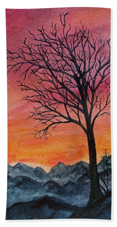 Watercolor Beach Towel featuring the painting Solitude by Lisa Amport