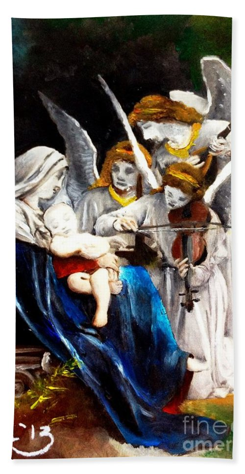 Oil Beach Towel featuring the painting Song Of The Angels By Bouguereau by Maria Leah Comillas