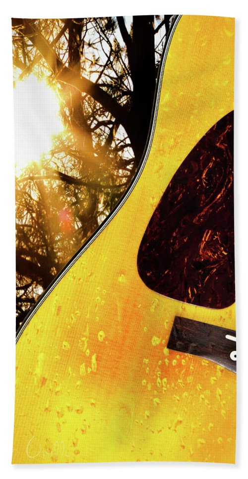Guitar Beach Towel featuring the photograph Songs From The Wood by Bob Orsillo