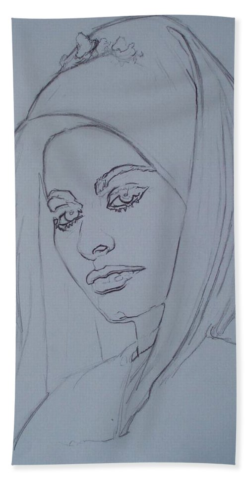 Woman Beach Towel featuring the drawing Sophia Loren In Headdress by Sean Connolly