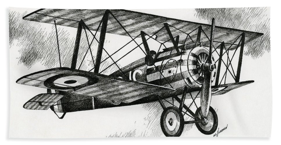 Sopwith Beach Towel featuring the drawing Sopwith F.1 Camel 1917 by James Williamson