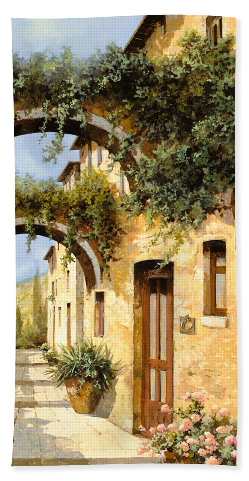 Arch Beach Towel featuring the painting Sotto Gli Archi by Guido Borelli