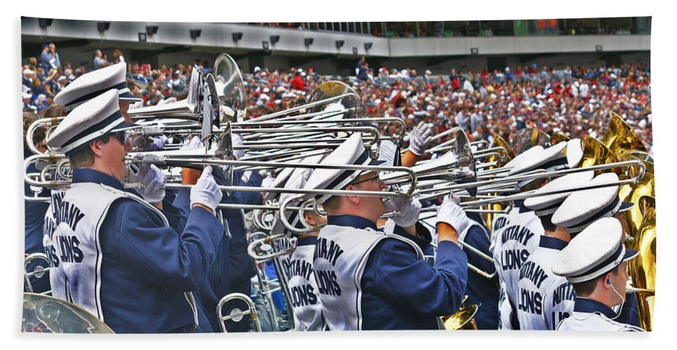 Penn State University Blue Band Beach Towel featuring the photograph Sounds Of College Football by Tom Gari Gallery-Three-Photography