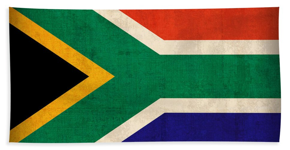 South Africa Flag Vintage Distressed Finish Beach Towel featuring the mixed media South Africa Flag Vintage Distressed Finish by Design Turnpike