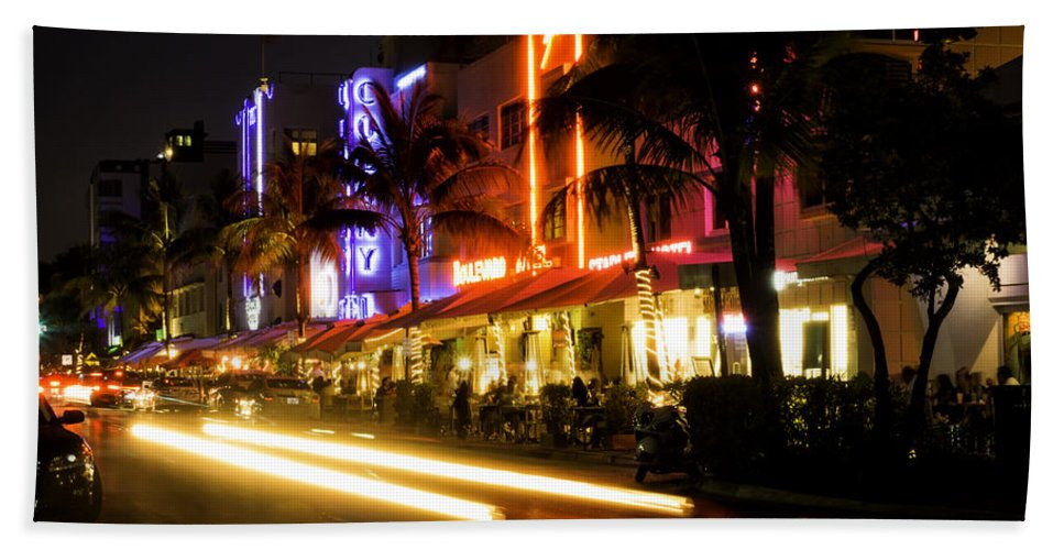 Miami Beach Towel featuring the photograph South Beach After Dark by Fran Gallogly