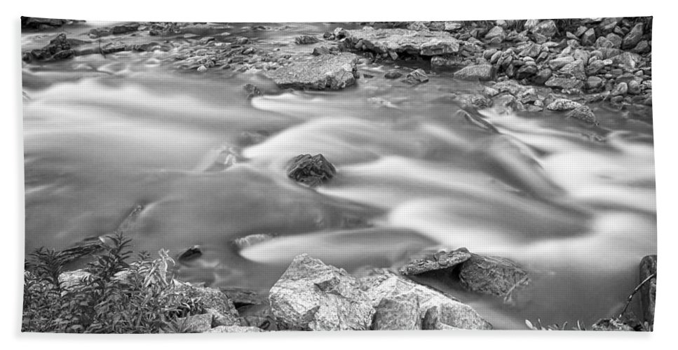 Creek Beach Towel featuring the photograph South Boulder Creek Little Waterfalls Rollinsville Bw by James BO Insogna
