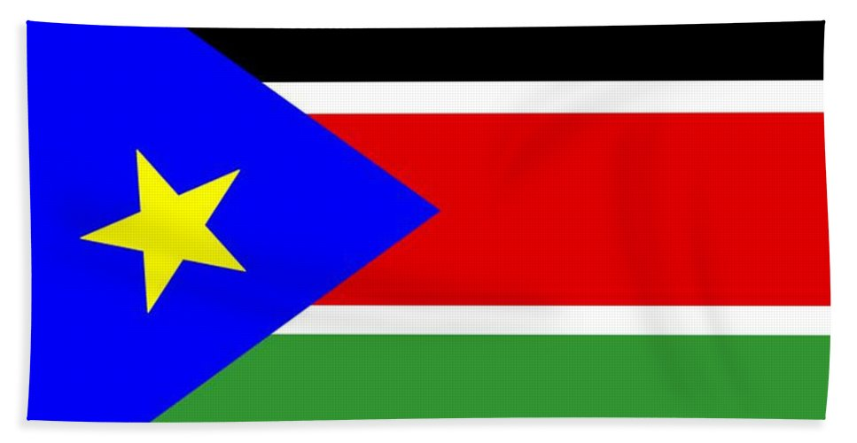 South Beach Towel featuring the digital art South Sudan Flag by Frederick Holiday