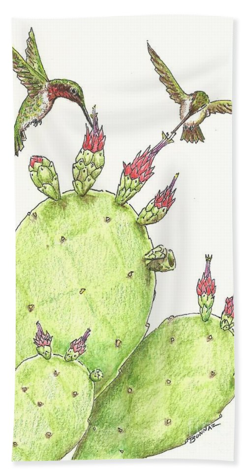Texas Beach Towel featuring the drawing South Texas Nopales For Breakfast by Sue Bonnar