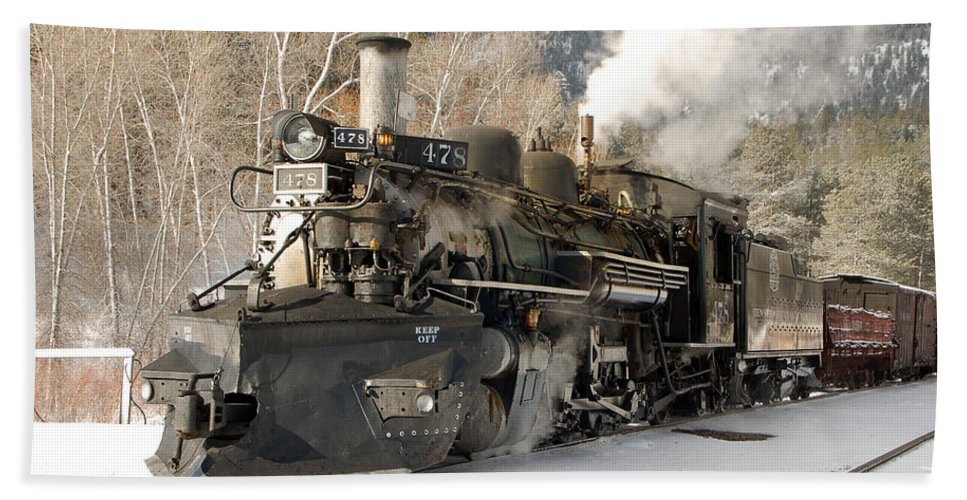 Steam Train Beach Towel featuring the photograph Southbound Through Rockwood by Ken Smith
