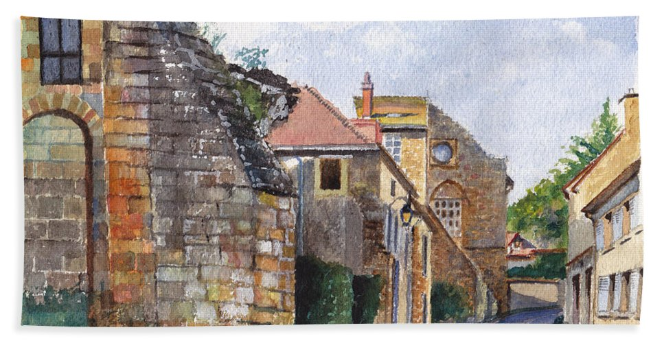 Stonework Beach Towel featuring the painting Souvigny Eclectic Architecture In A Village In Central France by Dai Wynn