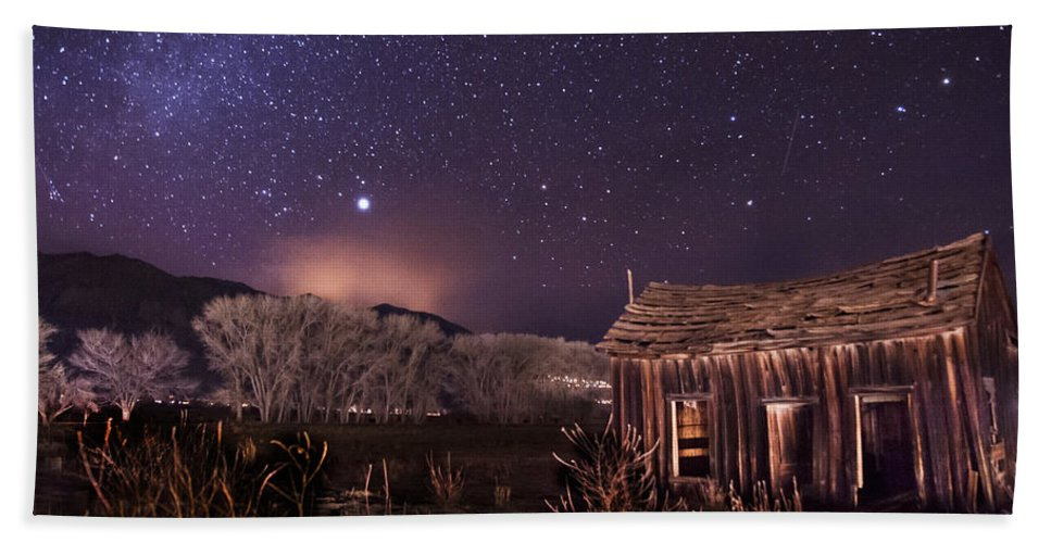 Night Stars Sky milky Way Architecture Building History Light California eastern Sierra sierra Nevada Scenic Landscape Nature Beach Towel featuring the photograph Space And Time by Cat Connor