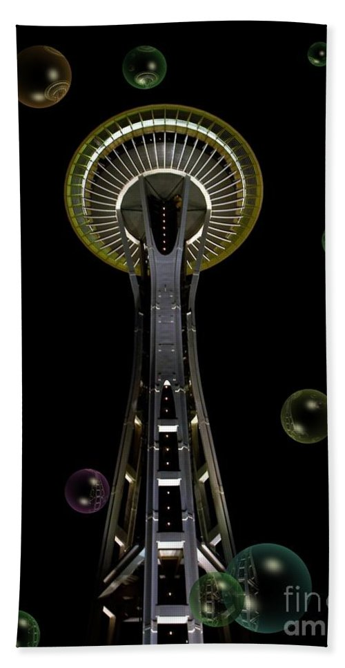Space Needle With Bubbles 2 Beach Towel featuring the mixed media Space Needle With Bubbles 2 by Chalet Roome-Rigdon
