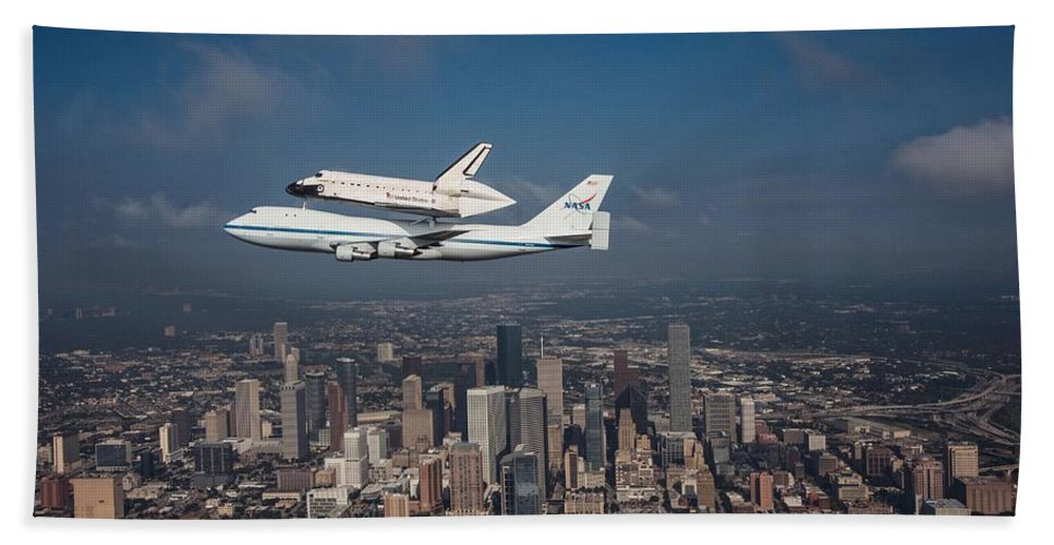 Space Shuttle Beach Towel featuring the photograph Space Shuttle Endeavour Over Houston Texas by Movie Poster Prints