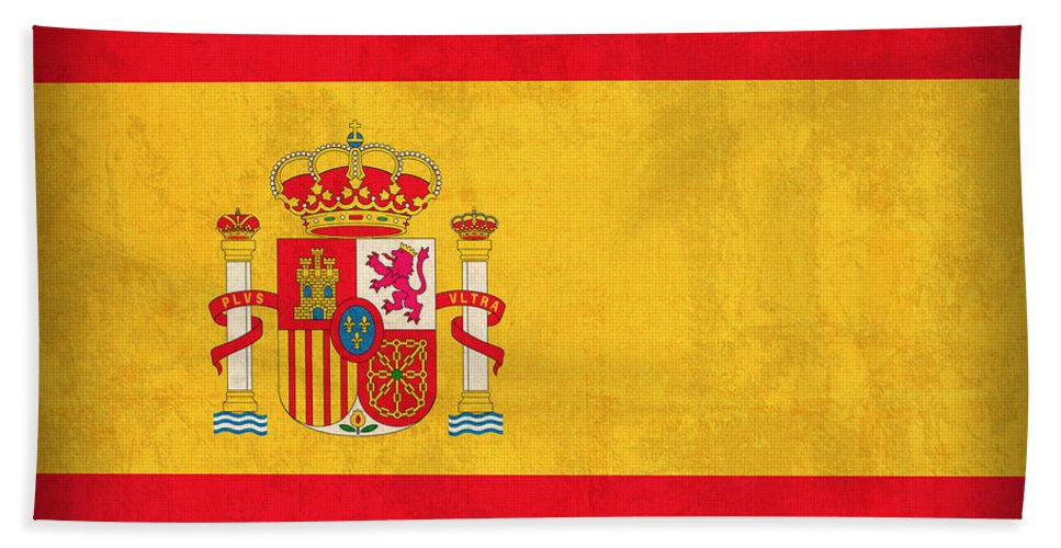 Spain Flag Vintage Distressed Finish Spanish Madrid Barcelona Europe Nation Country Beach Towel featuring the mixed media Spain Flag Vintage Distressed Finish by Design Turnpike