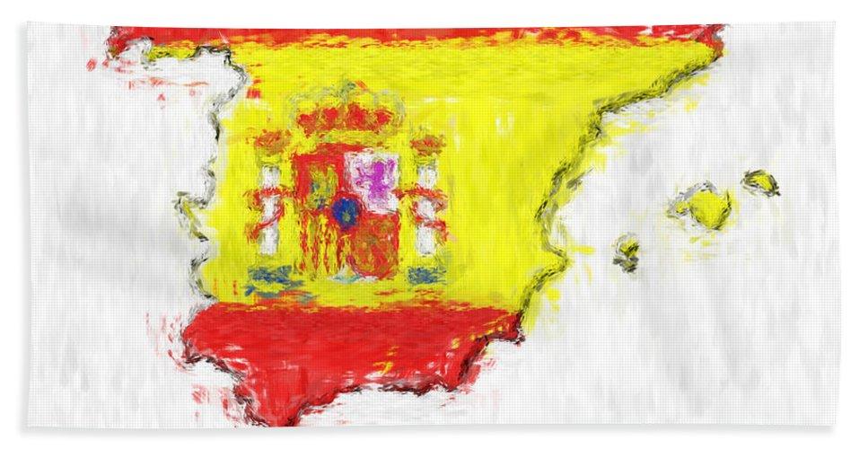 Spain Beach Towel featuring the photograph Spain Painted Flag Map by Antony McAulay