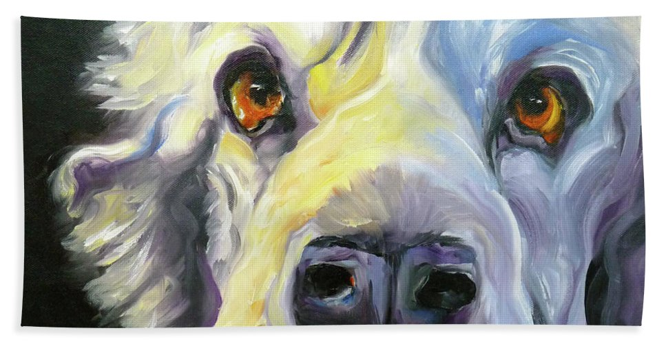 Dogs Beach Towel featuring the painting Spaniel In Thought by Susan A Becker
