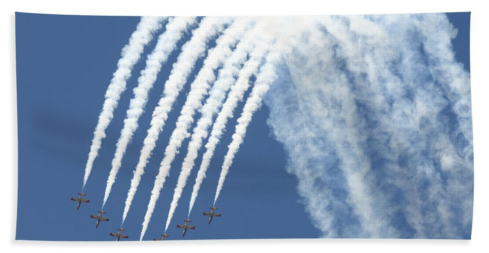 Military Beach Towel featuring the photograph Spanish Air Force C101 Of The Patrulla by Daniele Faccioli