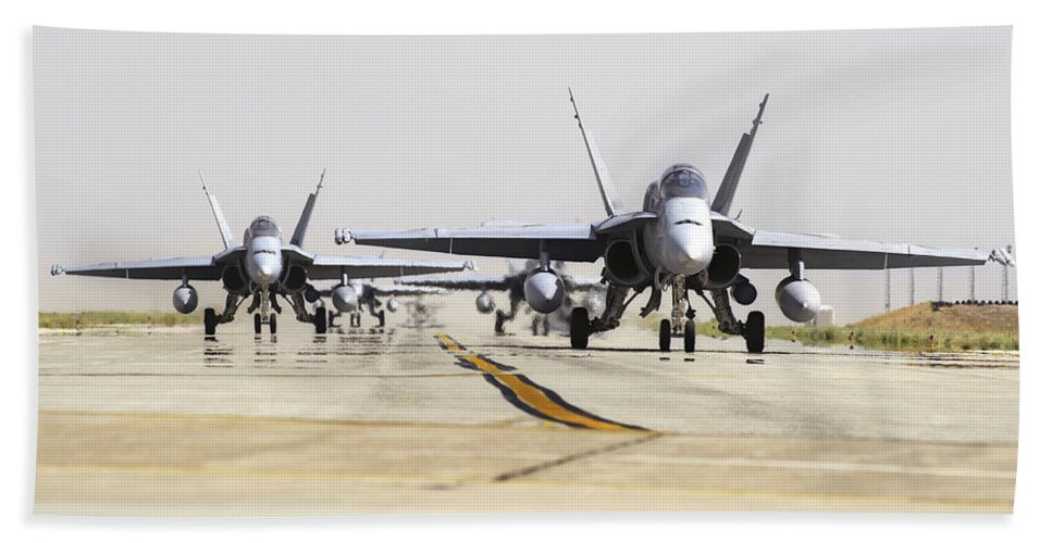 Military Beach Towel featuring the photograph Spanish Air Force Ef-18m Hornets by Daniele Faccioli