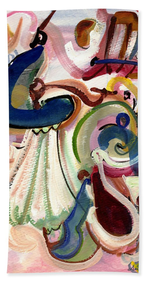 Abstract Art Beach Towel featuring the painting Spanish Rose by Stephen Lucas