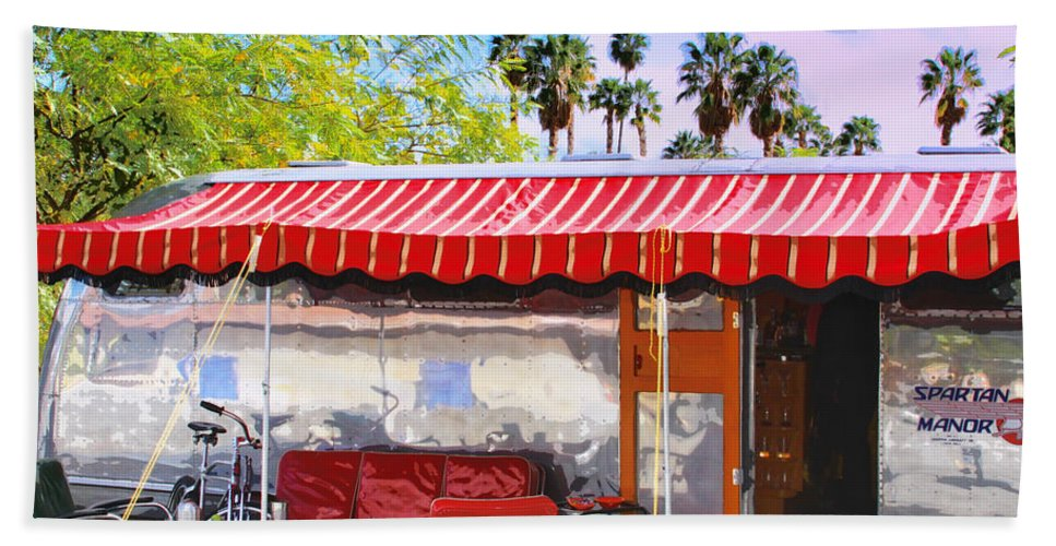 Airstream Beach Towel featuring the photograph Spartan Manor Palm Springs by William Dey