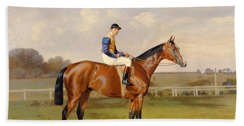 Horse Beach Towel featuring the painting Spearmint Winner Of The 1906 Derby by Emil Adam
