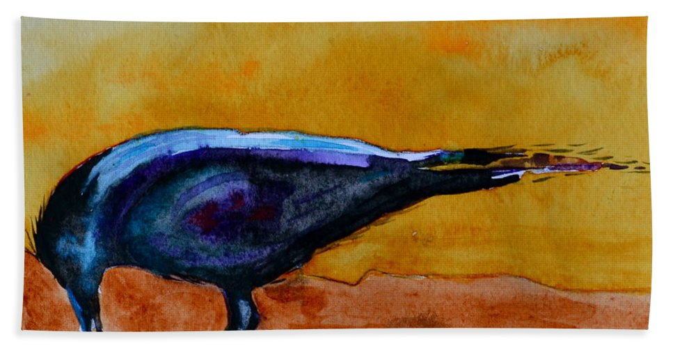 Crow Beach Towel featuring the painting Special Treat by Beverley Harper Tinsley