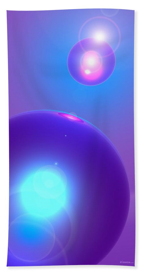 Abstract Beach Sheet featuring the digital art Spheres, No. 1 by James Kramer
