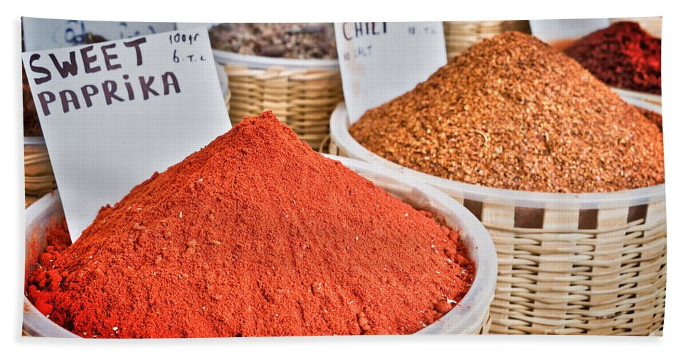 Spices Beach Towel featuring the photograph Spice Market by Delphimages Photo Creations