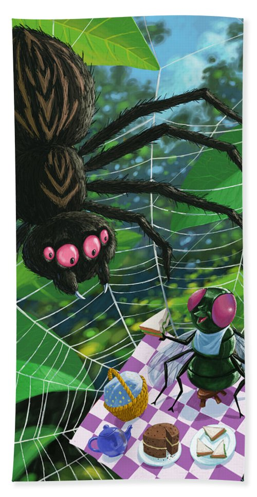 Picnic Beach Towel featuring the painting Spider Picnic by Martin Davey
