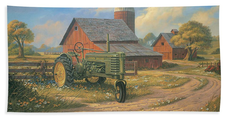 Landscape Beach Towel featuring the painting Spirit Of America by Michael Humphries