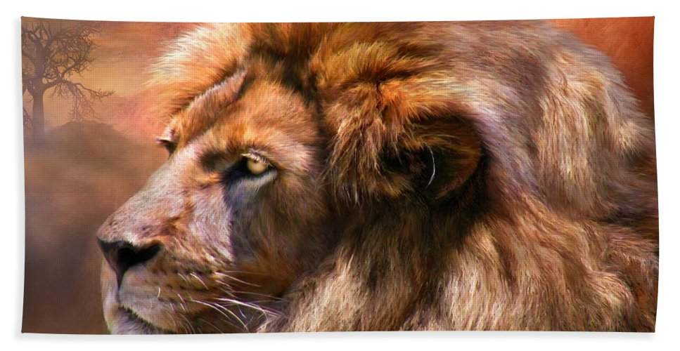 Lion Beach Sheet featuring the mixed media Spirit Of The Lion by Carol Cavalaris