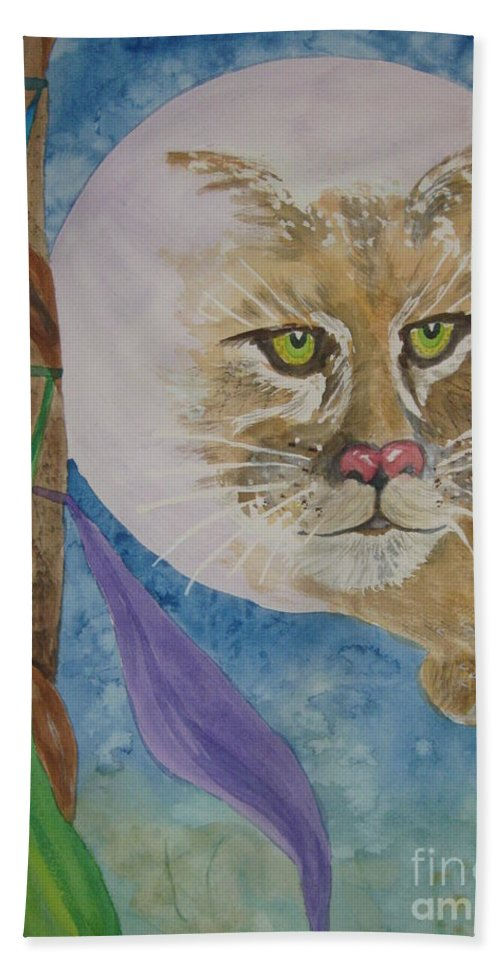 Cougar Beach Towel featuring the painting Spirit Of The Mountain Lion by Ellen Levinson