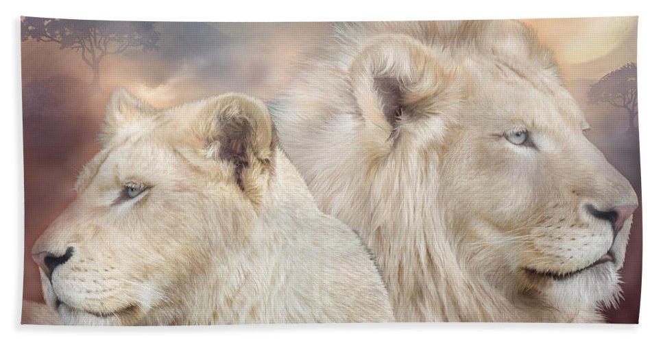 Lion Beach Sheet featuring the mixed media Spirits Of Light by Carol Cavalaris
